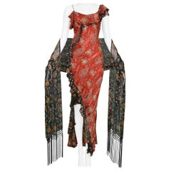 John Galliano for Dior Red Paisley Dress and Shawl Ensemble