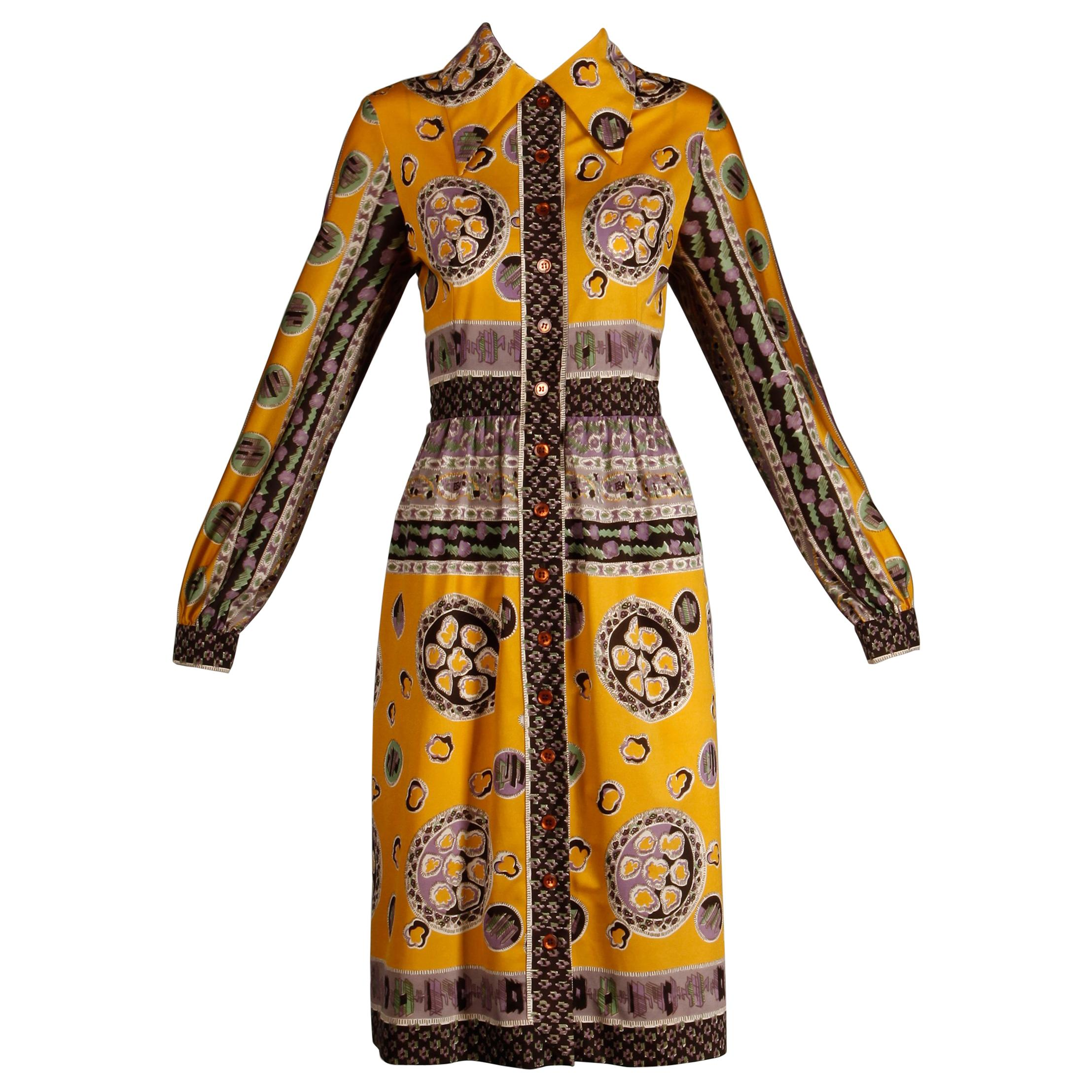 Oscar de la Renta Vintage Silk Jersey Knit Shirt Dress with Scarf Print, 1960s