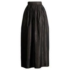 Emanuel Ungaro Parallele Paris Vintage Black Textured Silk Maxi Skirt, 1970s