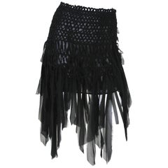 Tom Ford for Yves Saint Laurent Mini Black Silk Woven Fringe Skirt, S / S 2002
