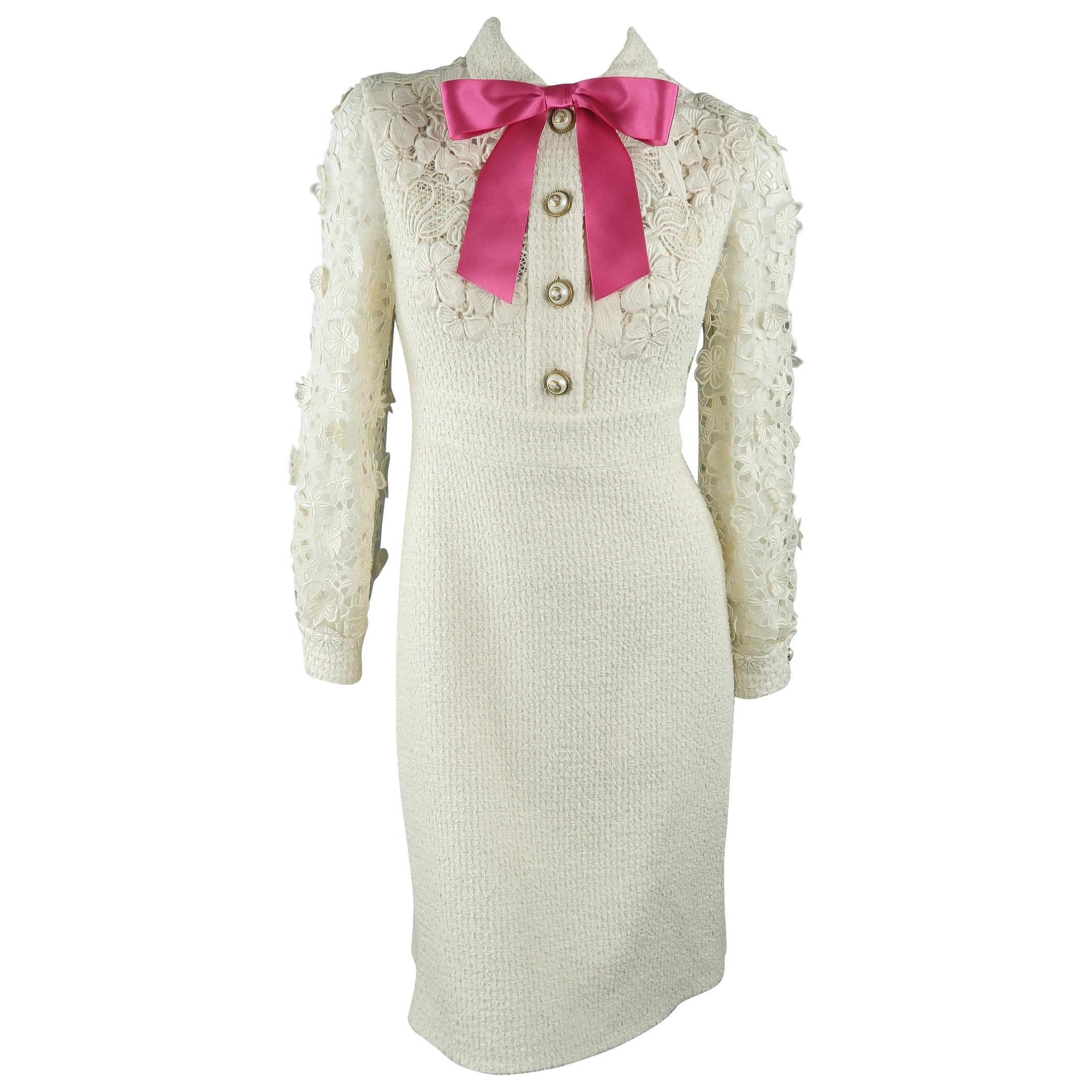 7e9fab5595d Gucci Dress - Cream Tweed Lace Sleeve Pink Bow Cocktail Dress at 1stdibs