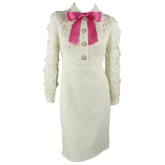 Gucci Dress - Cream Tweed Lace Sleeve Pink Bow Cocktail Dress