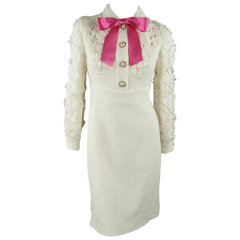 8e5b46bc169 Gucci Dress - Cream Tweed Lace Sleeve Pink Bow Cocktail Dress at 1stdibs
