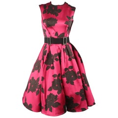 LANVIN Size 6 Hot Pink & Black Floral Silk Reverse Seam Cocktail Dress