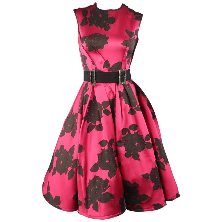 bb88c3fddd3c LANVIN Size 6 Hot Pink & Black Floral Silk Reverse Seam Cocktail Dress For  Sale