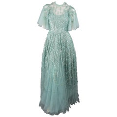 Elie Saab Sea Foam Silk Beaded Floral Sequin Tulle Gown
