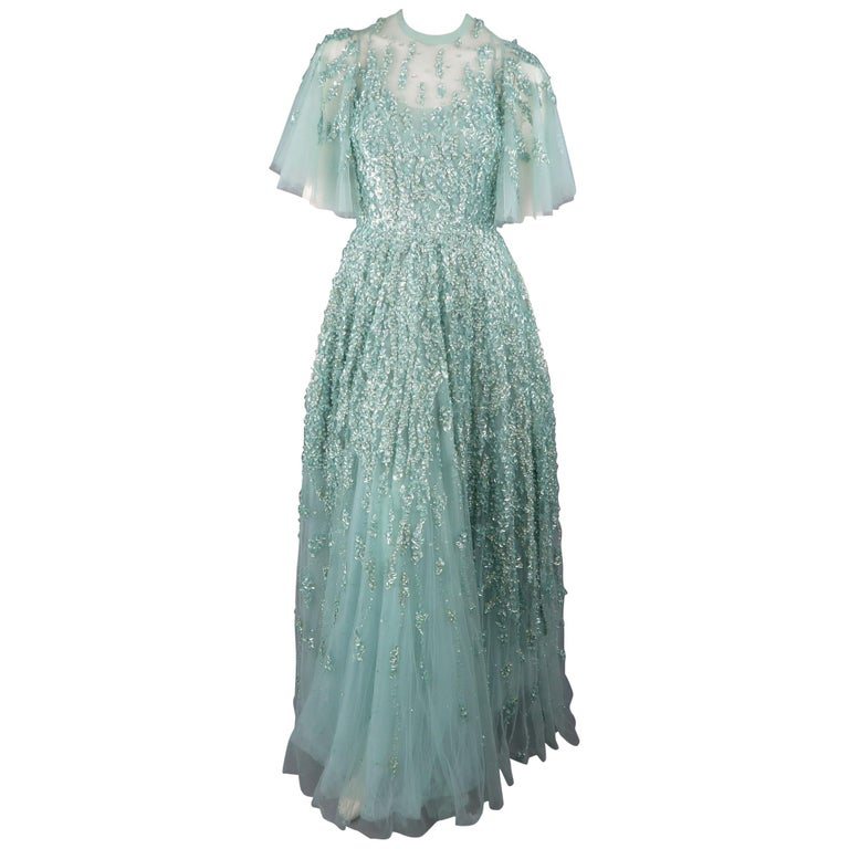 5c6059f68f60 Elie Saab New Sea Foam Silk Beaded Floral Sequin Tulle Dress Gown For Sale. This  gorgeous Elie Saab evening gown comes in layered sea foam teal green ...