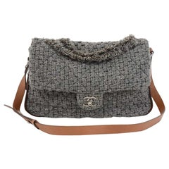 Chanel Gray Quilted Wool & Brown Leather Shoulder Flap Bag