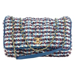 Chanel Blue & Red Quilted Tweed Large Chain  Shoulder Flap Bag