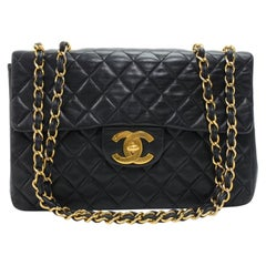 "Vintage Chanel 13"" Maxi Jumbo Flap Black Quilted Leather Shoulder Flap Bag"