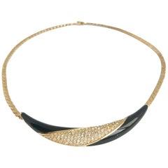 Christian Dior 80s Vintage Black Enamel and Crystal choker necklace