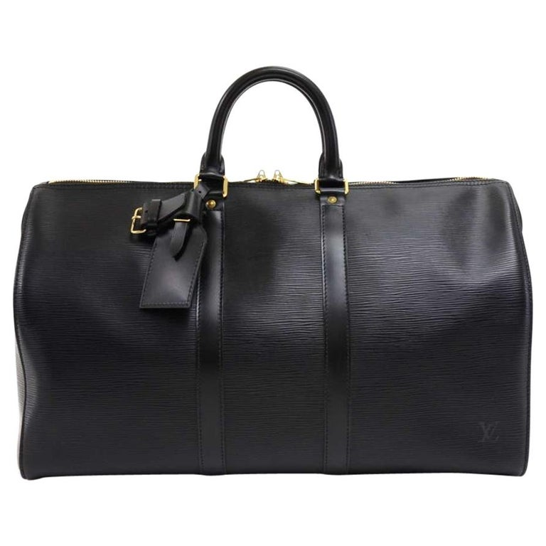 vintage louis vuitton keepall 45 black epi leather duffle travel bag at 1stdibs