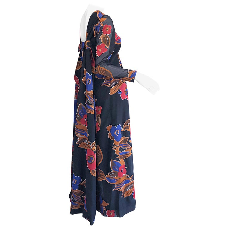 1960s John Boyle Bishop Black + Brown + Red Abstract Trained 60s Gown Maxi Dress For Sale