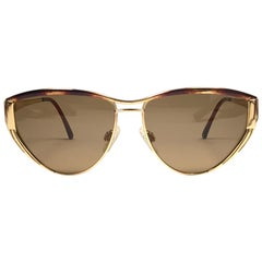 New Vintage Gucci Tortortoise & Gold Sunglasses 1980's Made in Italy