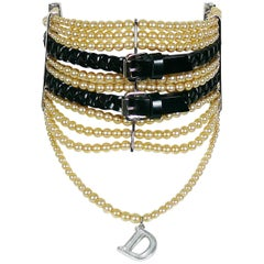 Christian Dior by John Galliano Masai Beaded Leather Buckle Choker Necklace