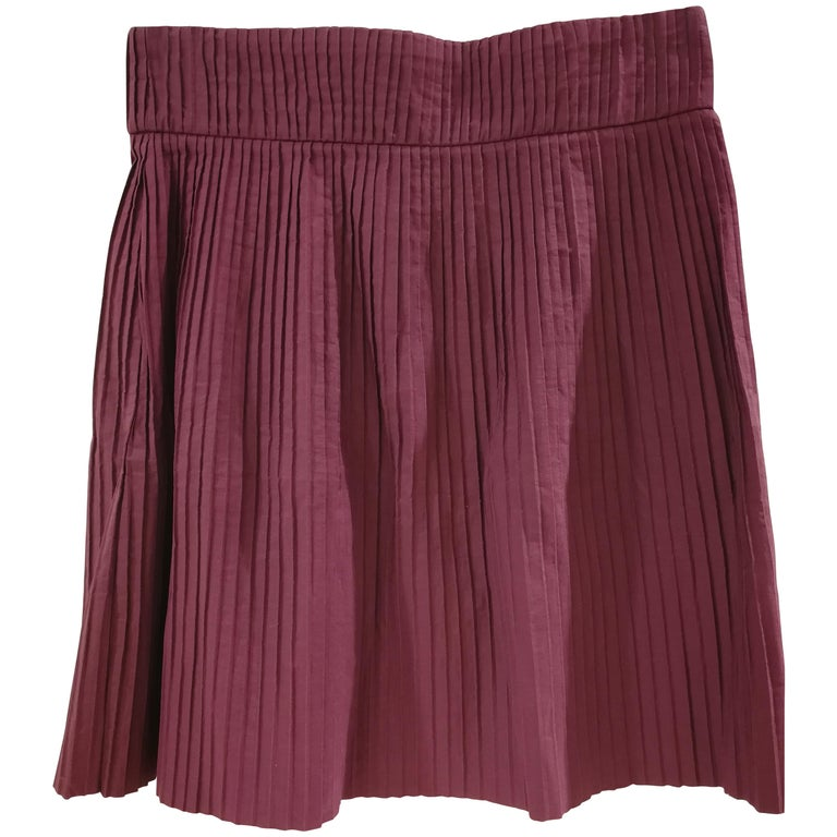 d6e1fd8699fd Miu Miu Bordeaux Cotton Skirt For Sale at 1stdibs