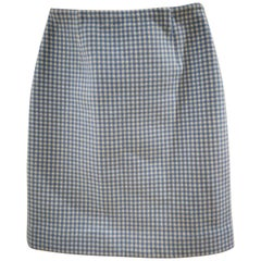 Prada Pied De Poule White Light Blue Cashmire Skirt NWOT