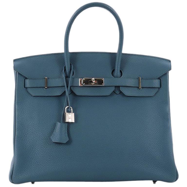 9eb3fff84fd0 Hermes Birkin Handbag Bleu Thalassa Togo with Palladium Hardware 35 For Sale