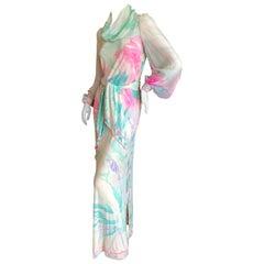 Leonard Paris Silk Jersey Poet Sleeve Long Hostess Dress w Draped Collar & Belt