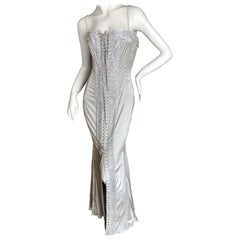 Dolce & Gabbana Lace Up Swarovski Crystal Embellished Silver Siren Dress, 2003