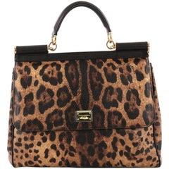 Dolce & Gabbana Miss Sicily Handbag Leopard Print Leather Large