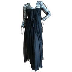Yves Saint Laurent Numbered Haute Couture 1970's Black Lace Flou Evening Dress