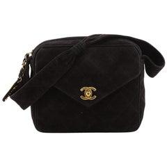Chanel Vintage Font Pocket Shoulder Bag Quilted Suede Small