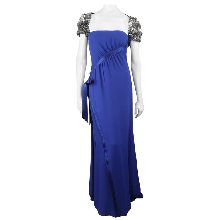 Valentino Royal Blue Strapless Bustier Gown w/ Beaded Bolero / Dress For Sale