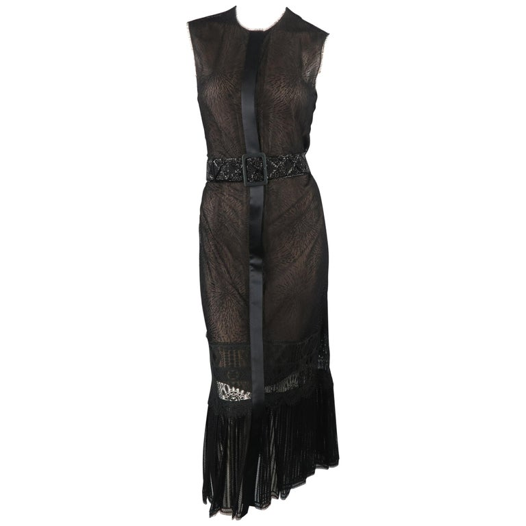 Richard Tyler Dress - Black Lace Ruffled Skirt Sleeveless Beaded Belt For Sale