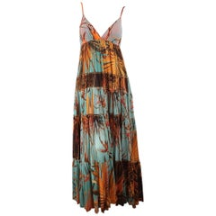 JEAN PAUL GAULTIER Size S Blue & Orange Palm Leaf Print Mesh Maxi Dress