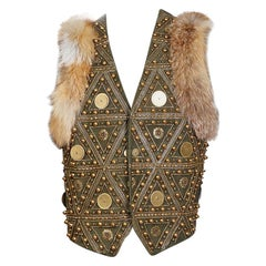 John Galliano Embellished Green Leather Vest with Fur Trim, 2000s