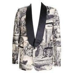 Custom Made Tuxedo Jacket with B&W Renaissance Print