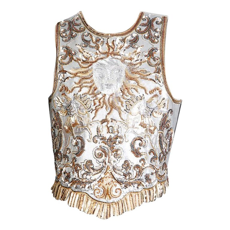 Lesage Gold and Silver Sequin Sun Emblem Vest For Sale