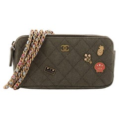 Chanel Cuba Charms Double Zip Clutch with Chain Quilted Canvas