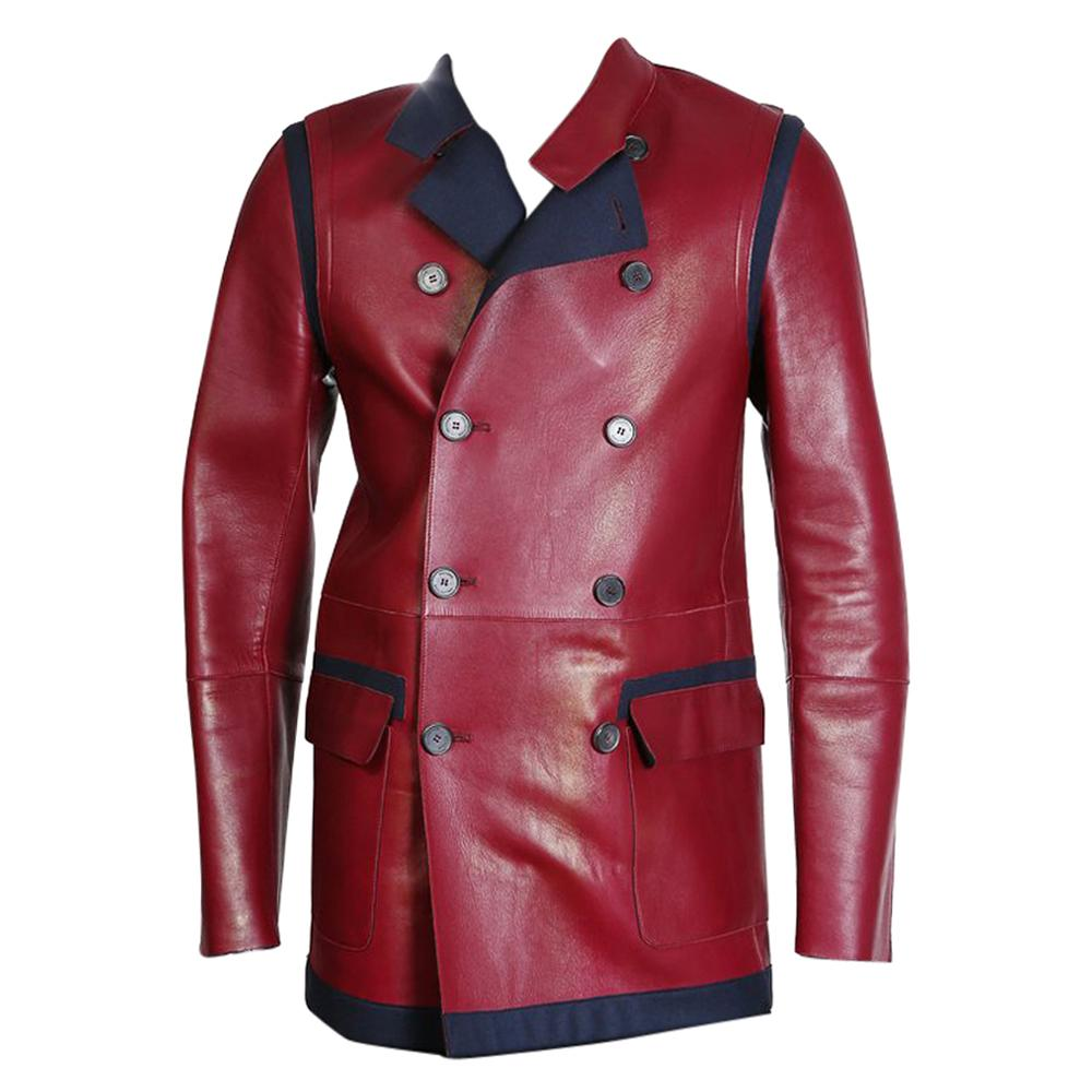 Tommy Hilfiger Red Leather and Navy Wool Coat