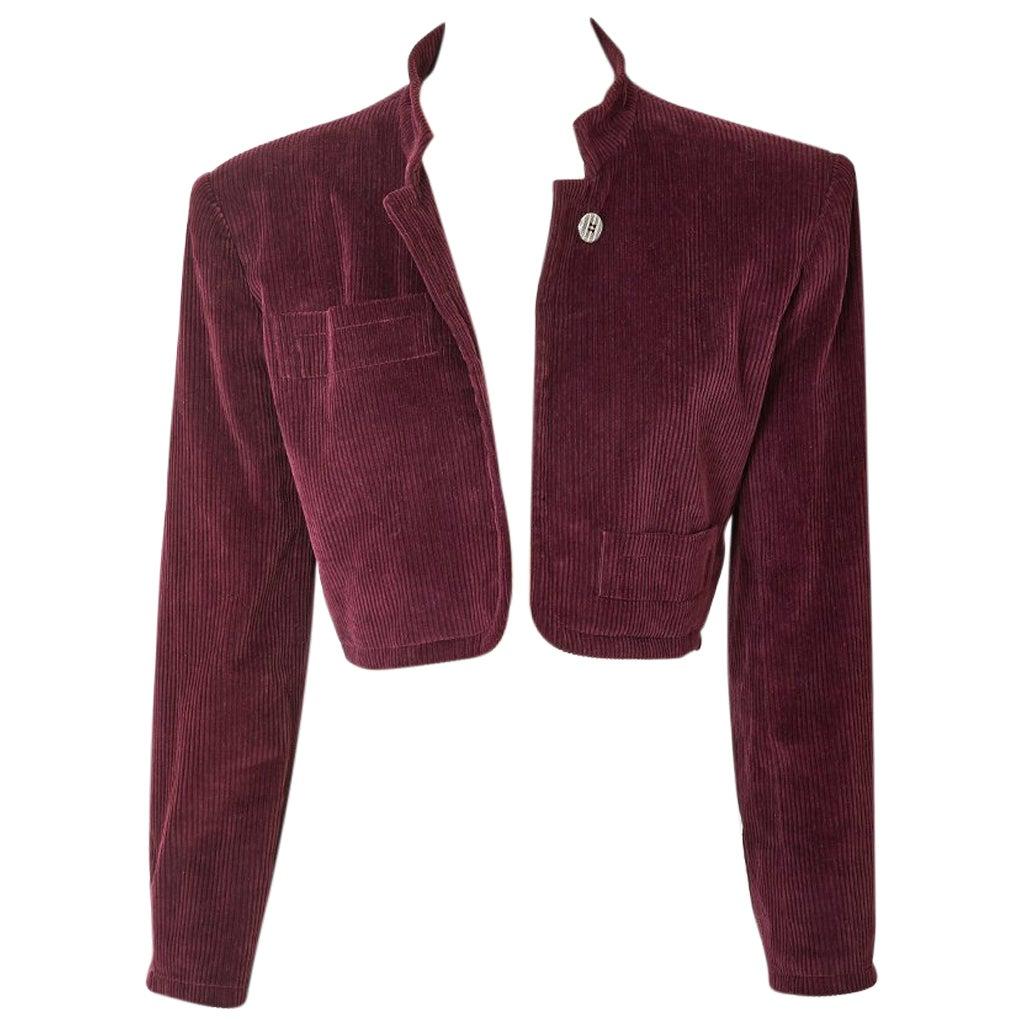 Yves Saint Laurent Corduroy Cropped Jacket