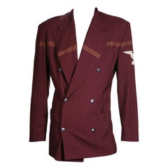 Jean Paul Gaultier Burgundy Pin Stripe Military Jacket, circa 1990s