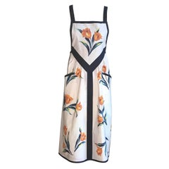Yves Saint Laurent YSL Vintage White Floral Dress Style Apron Orange and Blue
