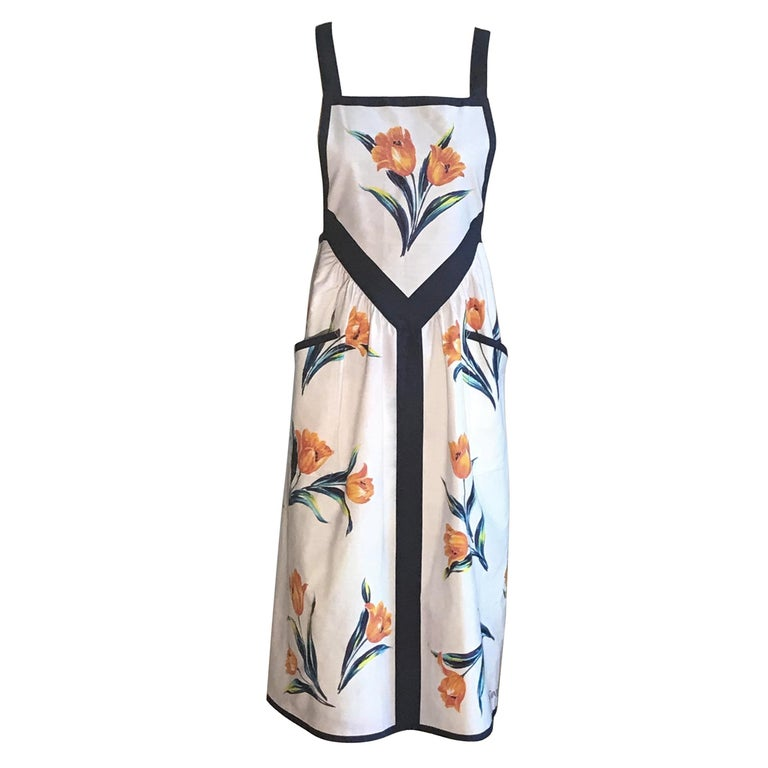 Yves Saint Laurent YSL Vintage White Floral Dress Style Apron Orange and Blue For Sale