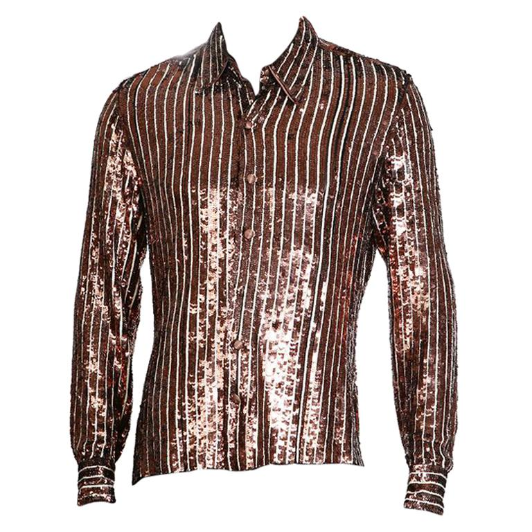 Jean Paul Gaultier Pin Stripe Collared Shirt in Copper and White Sequins