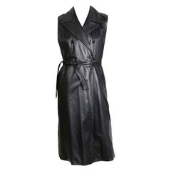 Hedi Slimane for YSL Double Breasted Long Black Leather Vest