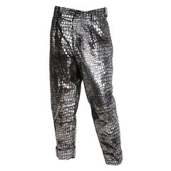 Yohji Yamamoto Metallic Silver Croc Print Pants