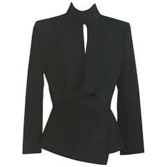 Yves Saint Laurent Black Draped Blazer Jacket Rive Gauche Collection, 2000s