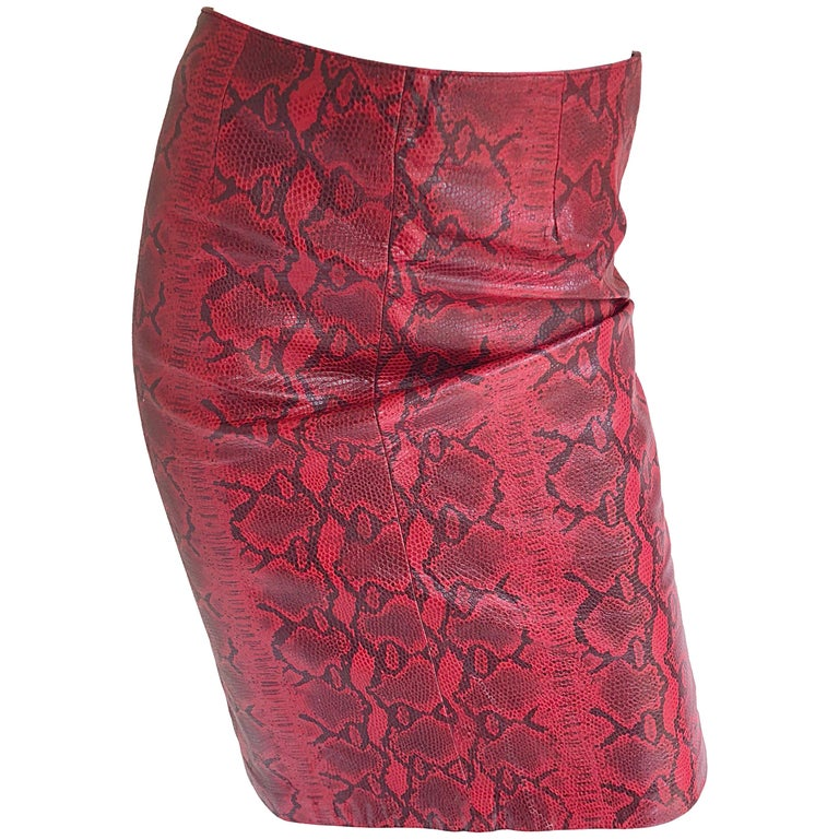 Sexy 1990s Red Leather Snake Skin High Waisted 90s Vintage Wiggle Pencil Skirt