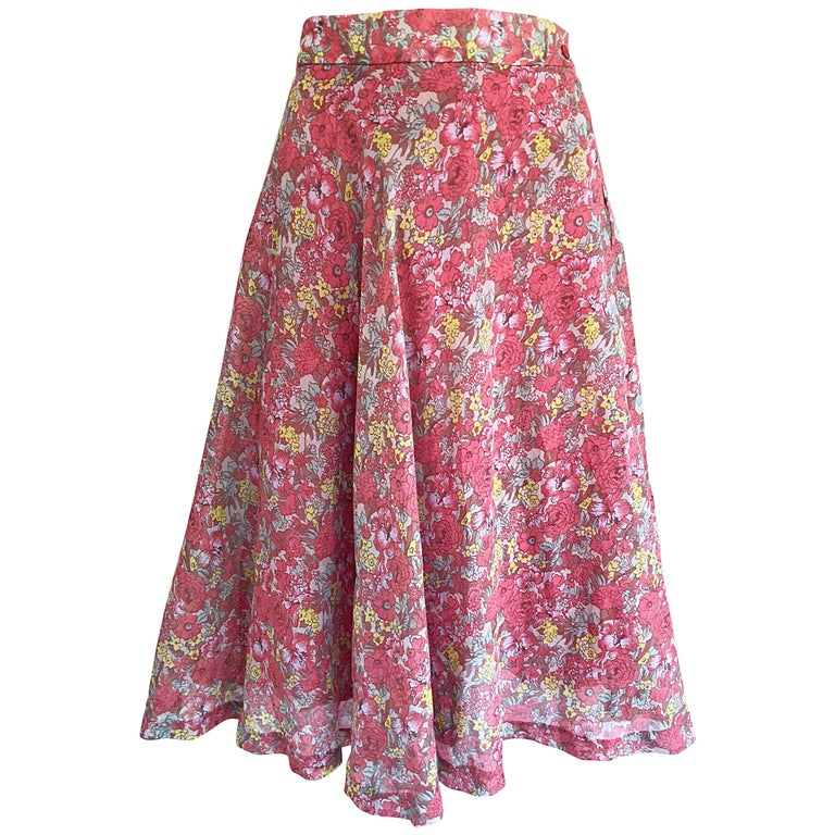Floral festival vintage maxi skirt lace up waist detail in red white flirty 1950s french made raspberry pink flower print cotton voile circle skirt mightylinksfo