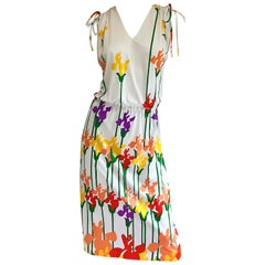 Lanvin Vintage 1970s Tulip Butterfly Print Colorful 70s Jersey Drawstring Dress