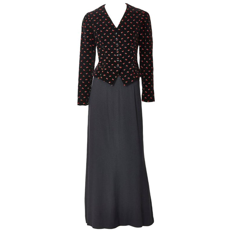 Yves Saint Laurent Embroidered Velvet Evening Ensemble For Sale