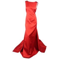 CH Carolina Herrera Satin Dress Gown, Spring 2016 Runway