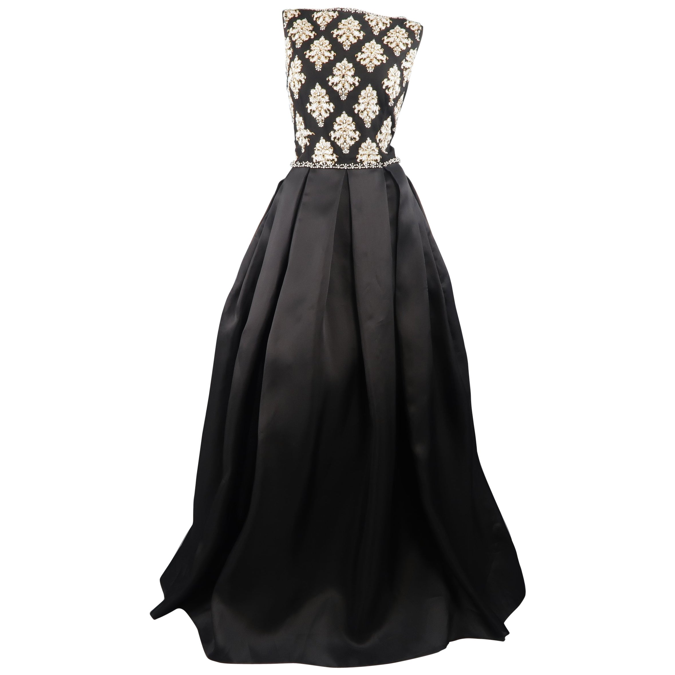 bf4b58f9c1f Naeem Khan Black Silk Beaded Bodice Pleated Ball Skirt Gown   Dress at  1stdibs