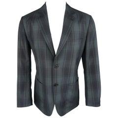 HERMES 42 Regular Gray & Muted Teal Plaid Wool Light Weight Sport Coat / Jacket